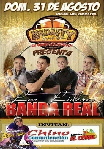 Domingo 31 de agosto se presenta banda real en Kadaffy Sport Bar
