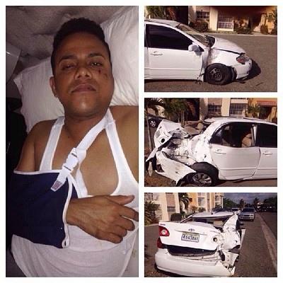 Nixon Román sufre accidente automovilístico