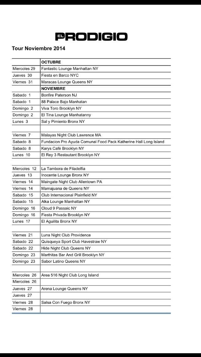 Itinerario: El Prodigio Tour 2014 EEUU