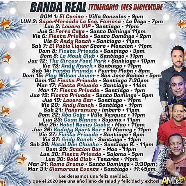 Itinerario de Banda Real mes de diciembre 2019
