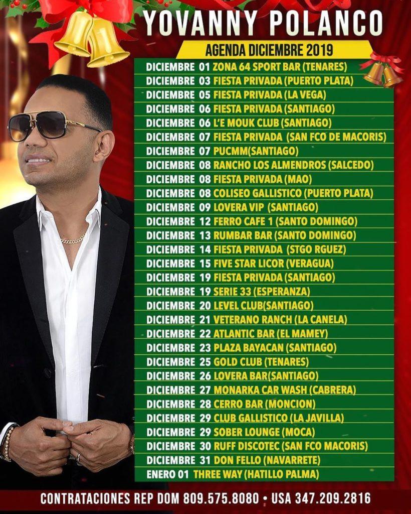 Itinerario de Yovanny Polanco mes de diciembre 2019